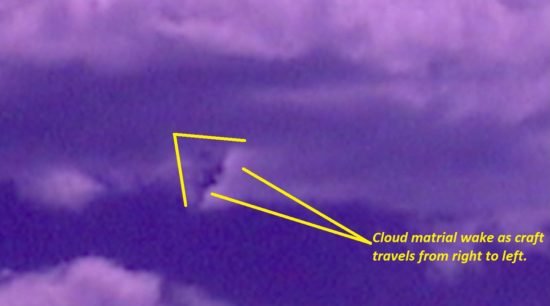 Cloaked craft removed from full spectrum video footage. Craft traveling right to left outlined in cloud material.