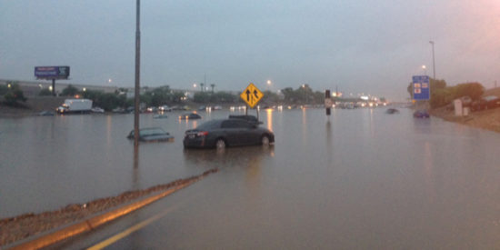 Interstate 10 flooded near 43rd avenue. (Jim Cross/KTAR)