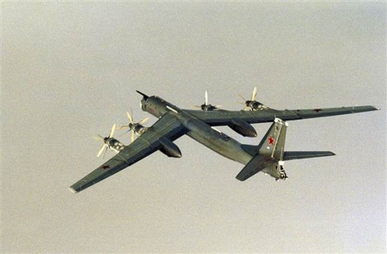 A Russian Tupolev Tu-95 bomber flies over international waters near the coast of Norway in 2007.