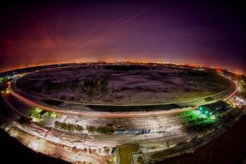 A night view of Fermilab's Tevatron accelerator outside Chicago, Illinois is seen in a February 8, 2011 handout photo. CREDIT: REUTERS/FERMILAB/REIDAR HAHN/HANDOUT