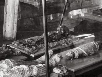 "Above photo : Thebes mummy found 1856, transferred to US Smithsonian in 1956? José Antonio Caravaca ( who has published over 100 research papers on ufology , cryptozoology , archeology and related disciplines) writes on his blog 3-25-15 ""After several weeks of hard controversies surrounding the so-called ""Roswell Slides"" new information could shed light on the true nature of the alleged extraterrestrial portrayed in the images. For a start, the humanoid shown in one of the slides has many similarities with a child-sized mummy."" ~The Truth Denied Among the buzz is speculation about what the pictures show, questions as to why they will be shown in Mexico, and questions as to how the pictures were found in the first place. The pictures are owned by a production company, and the owner of that company, Adam Dew, is creating a documentary about the slides titled Kodachrome. He says the trailer to Kodachrome shows everything they know to this point. However, as questions are answered, more arise. I caught up with Dew to ask him about some of the outstanding questions and to address some of the speculation out there. Dew was interviewed as one of the researchers when the May 5 event was announced. The trailer to his documentary was also revealed at that time. However, Dew's role was not apparent, and the tie between he and the documentary were not (clear)  either. Dew insists that he is not a hoaxer, nor are his friends, but where have we heard this before? According to Dew, his   background is in journalism and video production. He graduated from Northwestern University in 1998 with a degree in journalism. He then went on to cover high school sports. In about 2003/2004 he started his own video production company called Varsity Tape. They shoot recruitment videos for high school athletes. He says he also freelances for CBS Sports, Yahoo!, and USA Today. He also has corporate clients for PR, video shooting and editing. Apparantly  (Dew)  got involved with the Roswell  slides around 2008. They were discovered by his friend's sister in 1998. She found a box of photographs while she was cleaning out a house to prepare it for an estate sale near Sedona, Arizona. Dew says she is a bit of a hoarder and just threw them in her garage. She finally looked at them in 2008."" The slide collection seems to have been owned by a couple in Midland, Texas, Bernerd and Hilda Ray. Here are what the sceptics , researchers and other news organizations  are reporting about the  Roswell slides, nothing short of disappointing. ""The new 'smoking gun alien picture' is 'blurred photo of child mummy' ""– Express UK Roswell Slides unveiled: UFO fans left heartbroken by Area 51 'alien' photo unveiling which was 'an epic fail' —  Mirror UK Co ""NEWLY released images claiming to be photographs of an alien which crash-landed near Roswell in 1947 were today dismissed as a hoax using child mummies, by some UFO experts."" –EXPRESS UK CO ""After the photographs were revealed, UFO spotters immediately took to Twitter to share screenshots of the snaps using the hashtag ""#BeDisappointed"".- Mirror   Roswell expert David Rudiak was asked to analyze if the placard on the body: ""Because poor focus seemed to be the main problem, I tried various refocusing software, but couldn't get what I thought were consistent results. … Tom Carey wanted me to have a look because of my work on the Ramey memo. But there is much less to work with here, such as unknown circumstances and font, quite unlike the Ramey memo. I'm not claiming to be a full-fledged image processing expert, and when examination of the placard in high resolution is hopefully undertaken after May 5 by multiple qualified people, maybe we will get a definitive answer as to what is shown. … the placard is the key to resolving this thing (or somebody finding something like a child mummy that is an exact match to what is shown.)"" Most researchers tend to agree that indeed the slides are that of a child mummy, and not alien in nature at all. I remember paying most of my attention on the head and commenting to Tom that it looked much more human than I would have expected if it was an alien."" ""I agree that it makes no sense that the Rays could casually photograph an alien corpse on display somewhere. Further, there is that woman in the dress standing in one of the pictures. From the low quality screen captures we've seen, the dress does NOT suggest a military nurse standing in the picture, but a civilian. I agree it looks more like a civilian setting, perhaps a museum, perhaps somewhere else.?"""