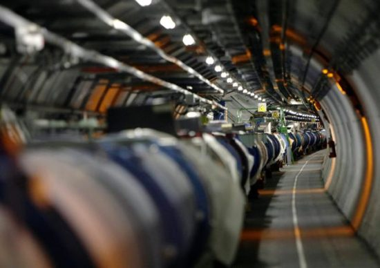 The LHC (large hadron collider) in its tunnel at CERN :After a two-year shutdown and upgrade, Europe's multi-billion dollar Large Hadron Collider is about to ramp up for its second three-year run. Scientists say if nature cooperates, the more powerful beam crashes will give them a peek into the unseen dark universe.