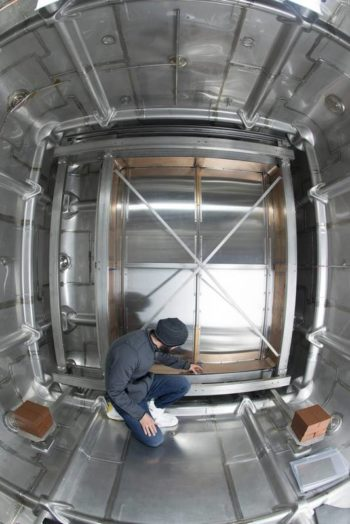 The inside of a prototype of a liquid argon time-projection chamber, similar to what will be used to detect neutrinos in the Deep Underground Neutrino Experiment that, if approved, would be based at Fermilab in Batavia. Courtesy of Fermilab