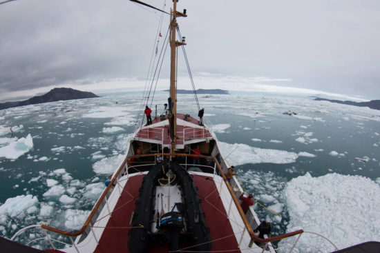 UC Irvine glaciologists aboard the MV Cape Race in August 2014 mapped for the first time remote Greenland fjords and ice melt that is raising sea levels around the globe. Maria Stenzel/for UC Irvine funding provided by UC Irvine, NASA, National Science Foundation