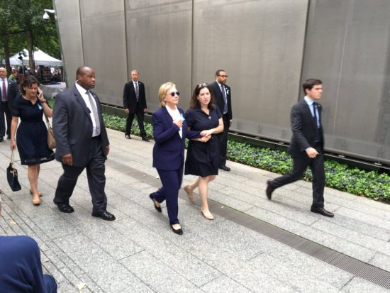 Hillary Clinton leaves the 911 Ceremony due to a medical problem.