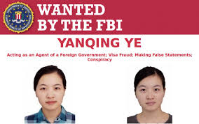 The FBI has released a wanted poster for Yanqing Ye, the lieutenant for China's military who is accused lying on her visa application and researching U.S. military websites for her country.