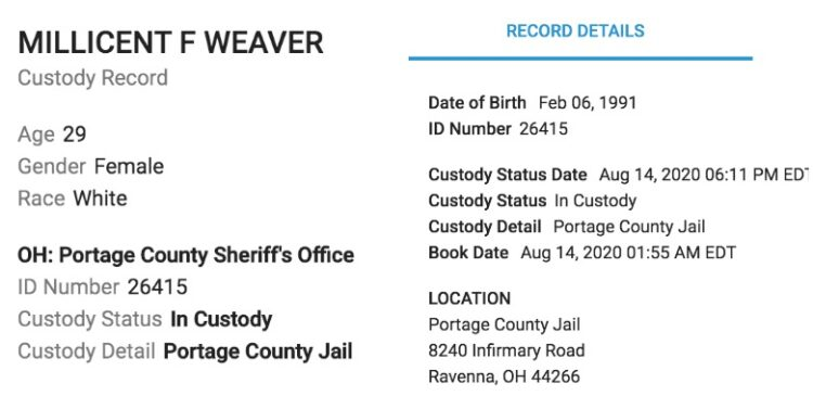 Millie Weaver Arrest PD Report